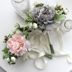 Fascinating Free-Form Silk/Cloth Bridesmaid Bouquets -