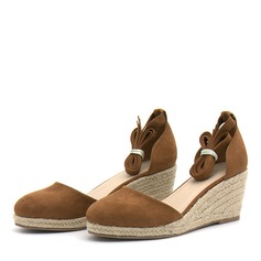 Women's Suede Wedge Heel Sandals Pumps Wedges With Lace-up shoes