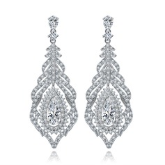 Luxurious Copper/Zircon/Platinum Plated Women's/Ladies' Earrings
