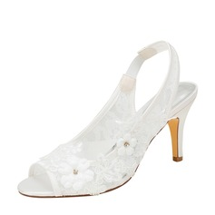 Women's Silk Like Satin Stiletto Heel Peep Toe Sandals With Stitching Lace Crystal