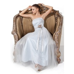 A-Line/Princess Strapless Floor-Length Tulle Prom Dress With Ruffle Sash Flower(s)
