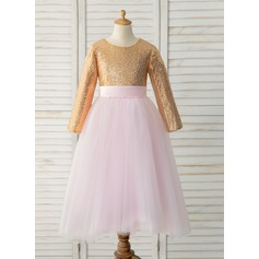 A-Line Floor-length Flower Girl Dress - Tulle/Sequined Long Sleeves Scoop Neck