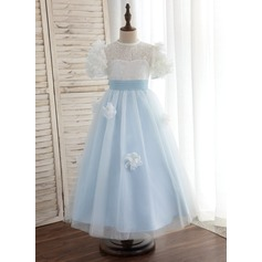 A-Line/Princess Ankle-length Flower Girl Dress - Tulle/Lace Short Sleeves Scoop Neck With Flower(s)