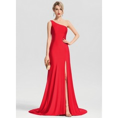 Trumpet/Mermaid One-Shoulder Sweep Train Jersey Evening Dress With Split Front