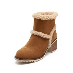 Women's Suede Chunky Heel Ankle Boots Snow Boots With Fur shoes