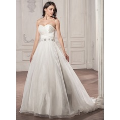 Ball-Gown Sweetheart Court Train Satin Organza Wedding Dress With Ruffle Beading Sequins