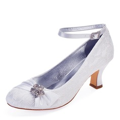 Women's Lace Chunky Heel Closed Toe With Rhinestone Stitching Lace Ruffles Ruched