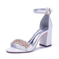 Women's Patent Leather Sandals With Rhinestone