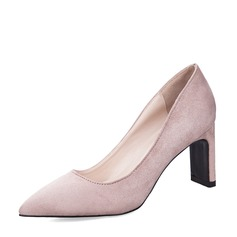 Women's Suede Chunky Heel Closed Toe Pumps With Others