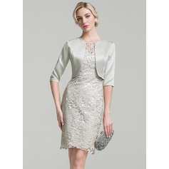 Sheath/Column Scoop Neck Knee-Length Lace Mother of the Bride Dress (267253155)