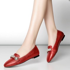 Women's Real Leather Flat Heel Flats Pumps With Rhinestone shoes (086116259)