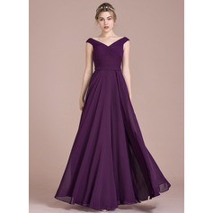 A-Line Off-the-Shoulder Floor-Length Chiffon Prom Dresses With Ruffle (272253278)