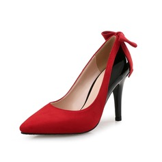 Women's Suede Patent Leather Stiletto Heel Pumps With Bowknot Split Joint shoes