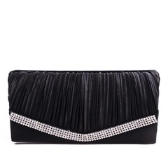 Elegant Satin With Ruffles/Rhinestone Clutches