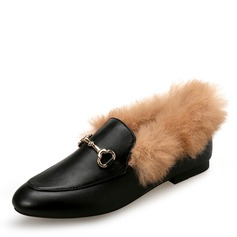 Women's Leatherette Stiletto Heel Flats Closed Toe With Buckle Faux-Fur shoes