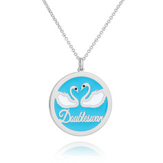 Custom Silver 3D Engraved Necklace Circle Necklace With Swan - Birthday Gifts Mother's Day Gifts