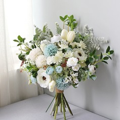 Blooming Free-Form Silk/Cloth Bridal Bouquets - (123201756)