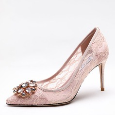 Women's Mesh Stiletto Heel Pumps Closed Toe With Rhinestone shoes