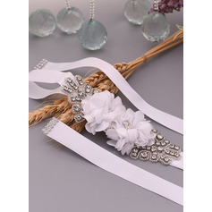 Polyester Sash With Flower/Rhinestones