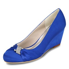 Women's Satin Wedge Heel Closed Toe Pumps Wedges With Bowknot Rhinestone