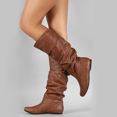 Women's Leatherette Flat Heel Closed Toe Boots Knee High Boots With Others shoes (088187306)