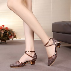 Women's Sparkling Glitter Heels Sandals Ballroom With Ankle Strap Dance Shoes