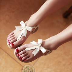 Women's Leatherette Flat Heel Sandals Flats Peep Toe Flip-Flops With Bowknot Buckle shoes