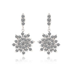 Snowflakes Shaped Zircon/Platinum Plated Ladies' Earrings
