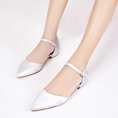 Women's Silk Like Satin Low Heel Closed Toe Flats Sandals With Buckle
