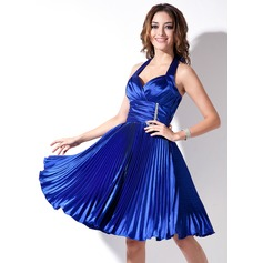 A-Line/Princess Halter Knee-Length Charmeuse Cocktail Dress With Beading Bow(s) Pleated