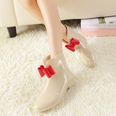 Women's PVC Low Heel Boots Mid-Calf Boots Rain Boots With Bowknot shoes