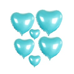 10pcs - 10inch Blue Heart Shaped Balloons