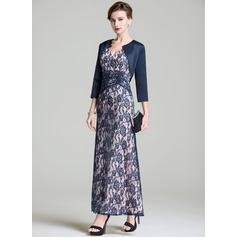 A-Line V-neck Ankle-Length Lace Mother of the Bride Dress With Ruffle