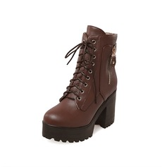 Leatherette Chunky Heel Platform Ankle Boots Riding Boots With Zipper Braided Strap shoes