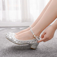Kids' Leatherette Chunky Heel Closed Toe Pumps MaryJane With Sequin