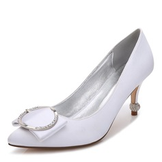Women's Silk Like Satin Stiletto Heel Closed Toe Pumps With Buckle Crystal Heel