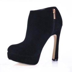Suede Chunky Heel Closed Toe Platform Ankle Boots
