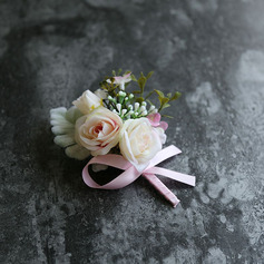 Classic Hand-tied Satin/Silk Flower Boutonniere (Sold in a single piece) - Boutonniere
