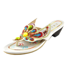 Women's Leatherette Chunky Heel Sandals Flats Flip-Flops With Rhinestone Imitation Pearl shoes