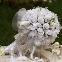Romantic Round Satin Bridal Bouquets