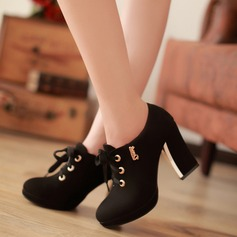 Women's Suede Chunky Heel Ankle Boots With Lace-up shoes (088114627)
