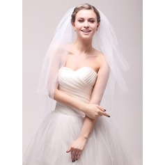 Three-tier Cut Edge Waltz Bridal Veils With Rhinestones