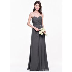 A-Line/Princess Sweetheart Floor-Length Chiffon Bridesmaid Dress With Ruffle Crystal Brooch