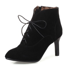 Women's Suede Stiletto Heel Pumps Boots Ankle Boots With Zipper Lace-up shoes
