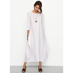 Linen With Stitching Maxi Dress (199170617)
