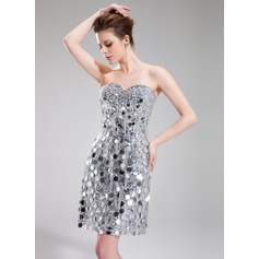 Sheath/Column Sweetheart Knee-Length Sequined Cocktail Dress With Beading