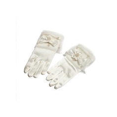Organza/Elastic Satin With Imitation Pearls/Bow Wrist Length Glove