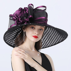 Ladies ' Hotteste/Romantisk Organzastof med Silke Blomst Strand / Sun Hatte/Tea Party Hats (196233898)