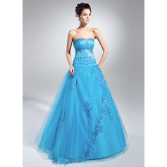Ball-Gown Sweetheart Floor-Length Tulle Quinceanera Dress With Beading Appliques Lace Sequins