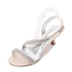 Women's Silk Like Satin Stiletto Heel Peep Toe Pumps Sandals Slingbacks With Buckle Rhinestone